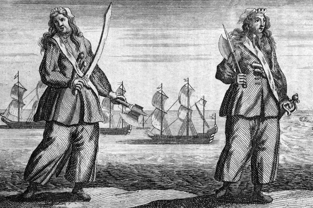 Pirates Mary Read and Ann Bonny, around 1720. The pair feature in Cross-Dressed to Kill by Vivien Morgan