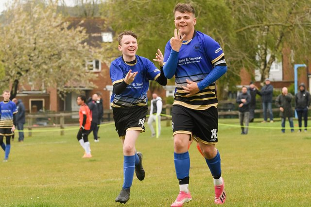 A Paulsgrove under-14s player celebrates netting in his side's thumping 6-1 victory against AFC Portchester Castles under-14s. Picture: Keith Woodland (080521-229)