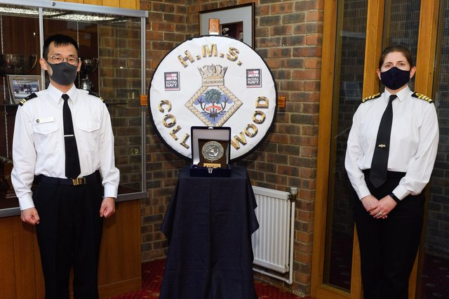 Lieutenant Commander Noriaki Mukaigawa from the Japan Maritime Self-Defence Force, left, pictured with Captain Catherine Jordan, commanding officer at HMS Collingwood, as he became the first Japanese naval officer to join a mine warfare course at the Fareham naval establishment. Photo: Royal Navy