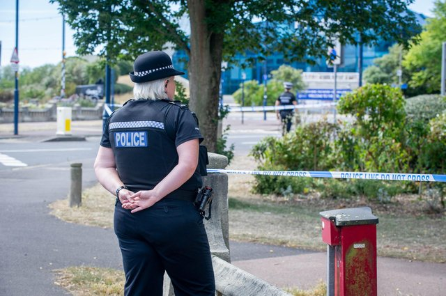 Police presence at Clarence Parade, Southsea on August 4, 2020. Picture: Habibur Rahman
