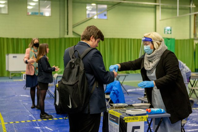 Pupils return to Priory School, Portsmouth after some lockdown restrictions have been lifted on 8 March 2021Pictured:  Dylan Evans having a Covid test done at the school Hall.  Picture:  Habibur Rahman