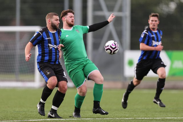 Callum Bridle (green) was on target as Cowplain defeated Horndean United 3-2 in Division 1 of the Mid-Solent League. Picture: Chris Moorhouse