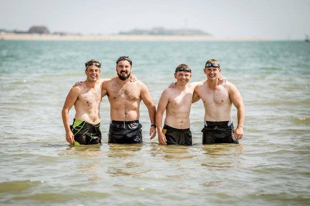 The hottest day of the year so far on the 25th July 2019 at Stokes Bay. Pictured: Swimming with friends, James Hitchcock, Dean Fentum, Brad Sealey and Brad Lotts.   Picture: Habibur Rahman