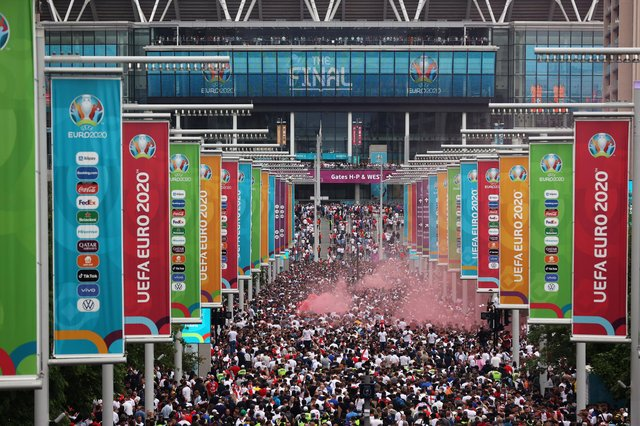 A general view outside the stadium along Wembley Way as fans enjoy the pre match atmosphere prior to the UEFA Euro 2020 Championship Final between Italy and England at Wembley Stadium on July 11, 2021 in London, England. Picture: Alex Pantling/Getty Images