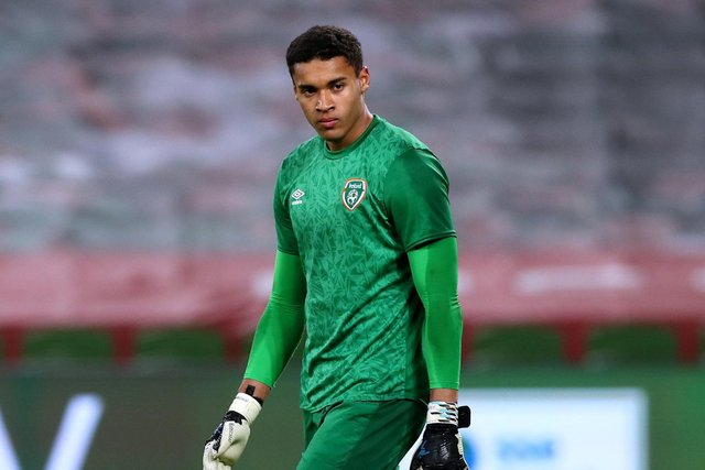 Gavin Bazunu could join his Republic of Ireland team-mate Ronan Curtis at Pompey training today. Picture: Brian Lawless/PA Wire.