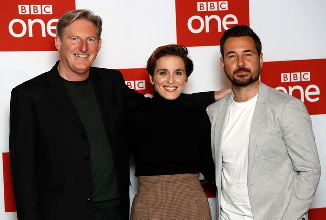 Adrian Dunbar, Vicky McClure and Martin Compston from Line of Duty. Picture: John Phillips/Getty Images