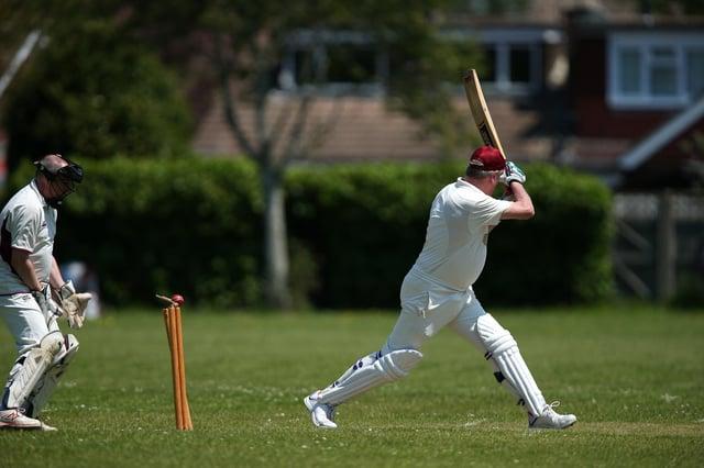 Fareham & Crofton skipper Steve Dean is bowled at Denmead. Picture: Chris Moorhouse