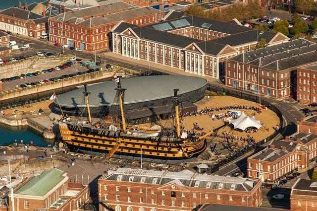 HMS Victory and the Mary Rose Museum in Portsmouth Historic Dockyard.  Photo: Shaun Roster Photography www.photoboxgallery.com/roster.