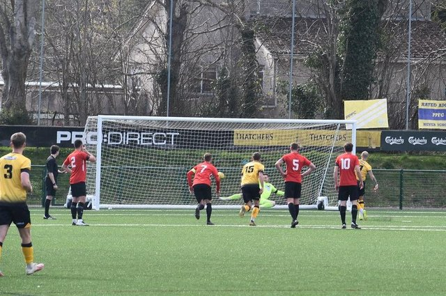 Ryan Richards sends Fareham keeper Dan Kempson the wrong way from the penalty spot. Pic: Paul Proctor.