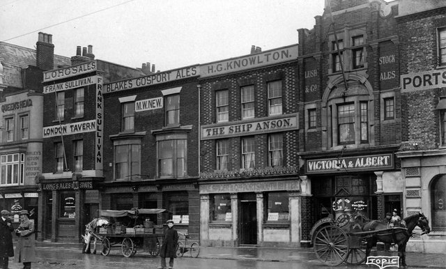 Five pubs in a row on The Hard circa 1910. Picture: Robert James collection.