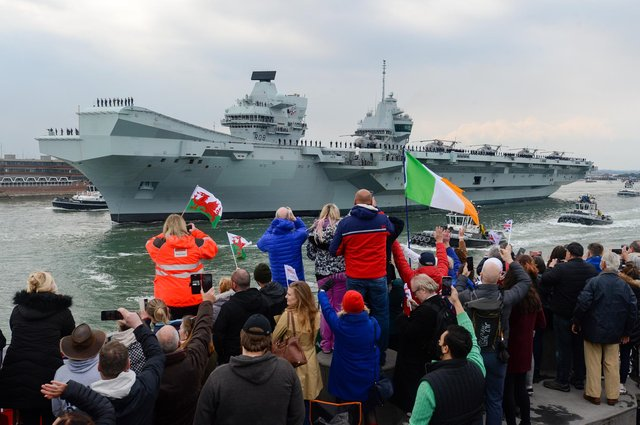 HMS Queen Elizabeth leaves Portsmouth to lead the Carrier Strike Group. Picture: Finnbarr Webster/Getty Images