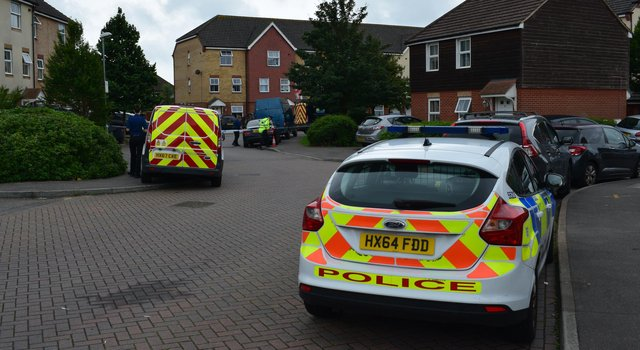 Pictures of police in East Shore Way, Milton, this afternoon. Picture: Stuart Vaizey