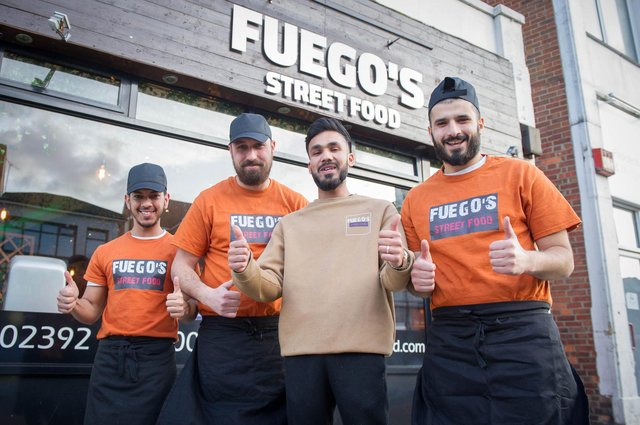 New restaurant, Fuegos Street Food has opened in London Road, North End, Portsmouth on 18th February 2020Pictured: Staff, Mohammed Kibria, Mohammed Alaaya, Mohammed Tafimus and Ahmed Eishwiarad.Picture: Habibur Rahman