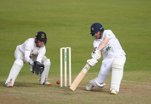 Liam Dawson on his way to 48 against Sussex today. Photo by Warren Little/Getty Images.