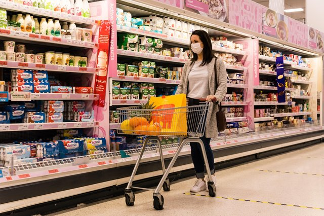 A shopper wearing a face covering in a Sainsbury's supermarket. Picture: Sainsbury's
