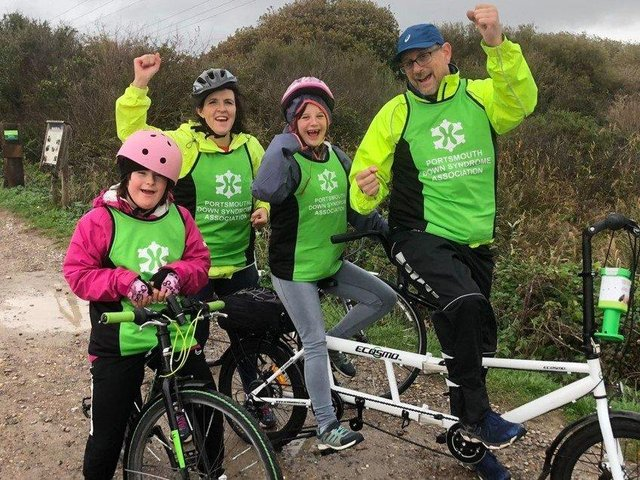 Supporters of Portsmouth Down Syndrome Association took on the T21 challenge to raise funds for the charity. Pictured: Matilda Field, Lucy Field, Megan Hartridge and Steve Hartridge