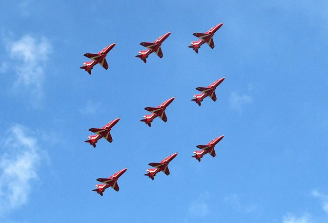 The Red Arrows make stop at Prestwick Airport as part of VJ Day celebrations last year.
