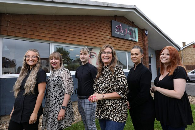 From left, Layla Alderson, Kiva Scott, Alex Summer, manager Georgie Burton, Charlie Peters, and Jade Voller, all of Elle J hair and beauty salon. Picture: Chris Moorhouse (jpns 190621-23)