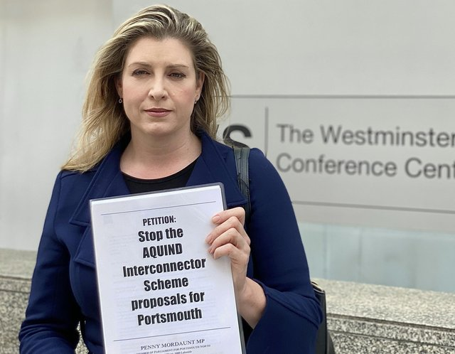 Penny Mordaunt hands in a petition against Aquind to the Department for Business, Energy & Industrial Strategy on Thursday, June 10 2021.