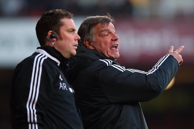 Andy Rolls, left, on the touchline with former West Ham boss Sam Allardyce.  Picture: Bryn Lennon/Getty Images
