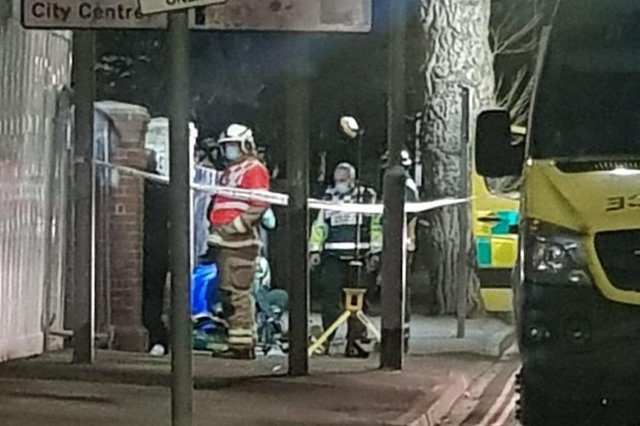 Police, firefighters and paramedics in Museum Road, Portsmouth, on March 26 in what police said is an 'isolated incident'. Picture: Sam Vaizey