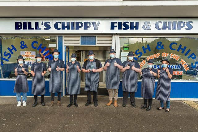 Bill's Chippy in Waterlooville staff - from left, Stephanie Berry, Jensen Sunderland, Del Berry, Janice Kennedy, owner Bill Isherwood, Free Wilson, Chance Wilson, Sarah Balchin and Lisa Drackett Picture: Mike Cooter