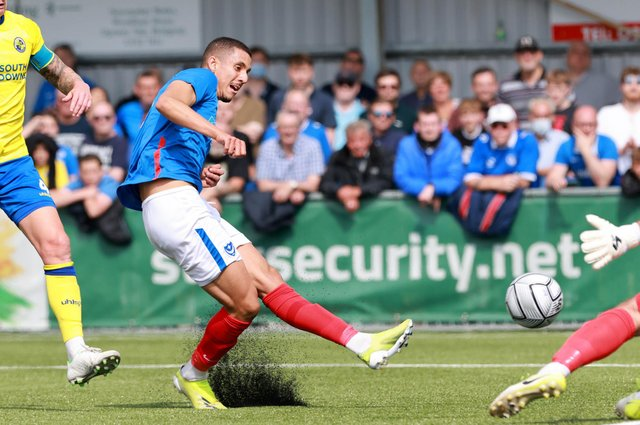 Gassan Ahadme scored a hat-trick on trial for Pompey at the Hawks. Picture: Paul Collins