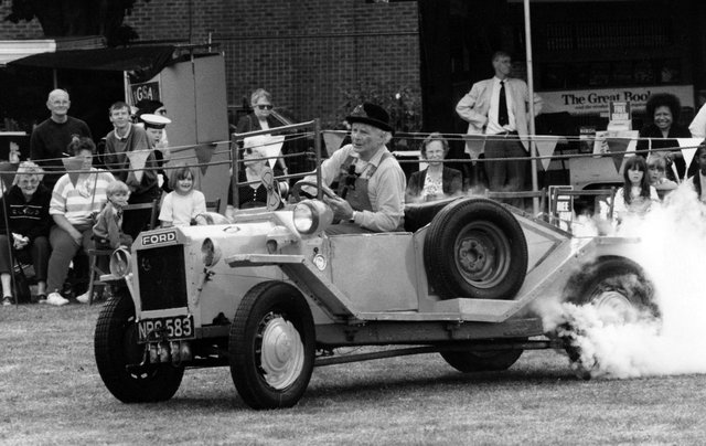 Clown Ben Lester in his crazy car at the Havant Town show, July 15 1995. The News PP3436