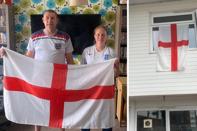 Rachel Jones and her partner Nick Jordan at their home in Lumsden Road, Eastney. Right, the flag when it was flying.