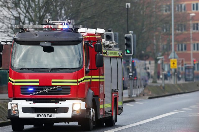 Hampshire Fire and Rescue fire engine, Winston Churchill Avenue, Portsmouth.             Picture: Chris Moorhouse           (240119-9)