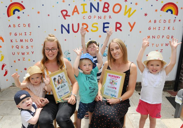 Lucy Whitehead with children and staff at the Rainbow Corner Day Nursery in Southsea.  Picture: Sarah Standing (050719-2801)