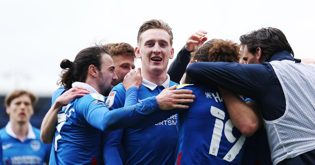Ronan Curtis with his  Pompey team-mates
