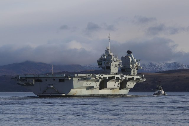 HMS Queen Elizabeth arrives at Glen Mallan, in Loch Long. Picture: PO JJ Massey/Ministry of Defence/Crown Copyright/PA Wire