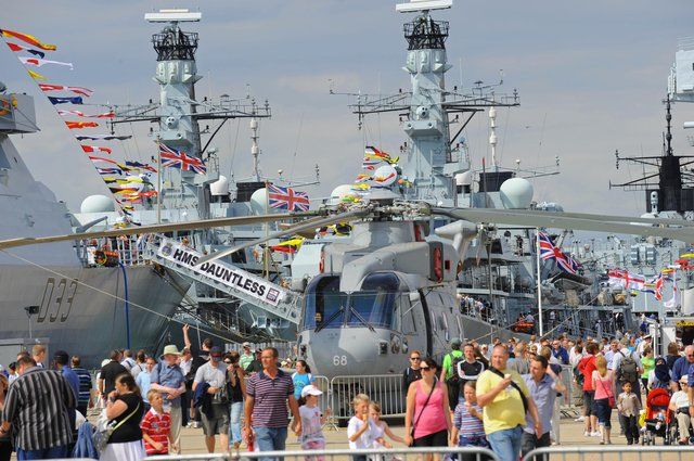 So many people wanted to go on board the ships that were alongside including HMS Dauntless, HMS Westminster and HMS Cumberland 1st August 2010. Picture: Malcolm Wells 102438-1117