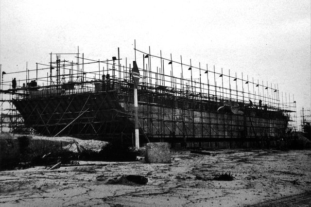 A Mulberry Harbour section under construction. One still remains in Langstone Harbour. Picture: Mike Beel collection.