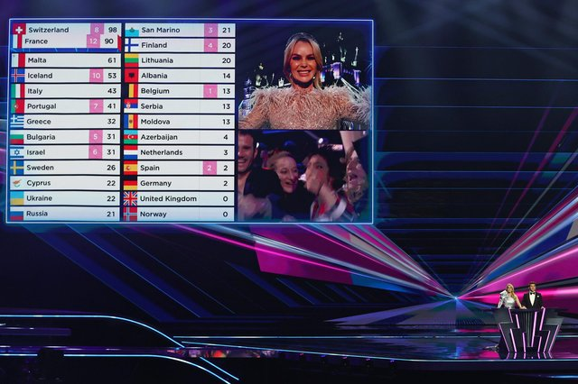 Amanda Holden announces the jury points from the United Kingdom during the 65th Eurovision Song Contest grand final on May 22, 2021 in Rotterdam, Netherlands. Photo by Dean Mouhtaropoulos/Getty Images