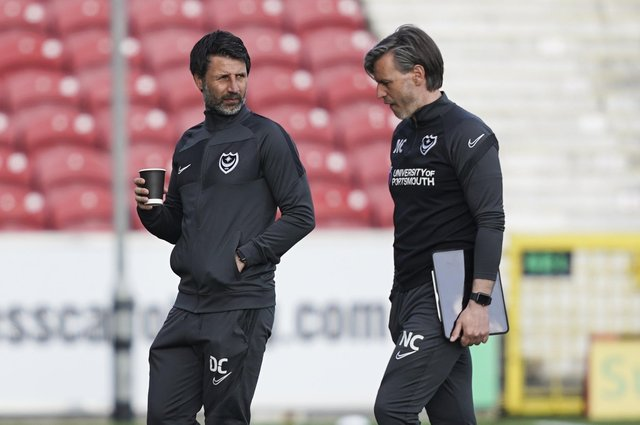 Danny Cowley in the company of his brother Nicky at Swindon on Tuesday night