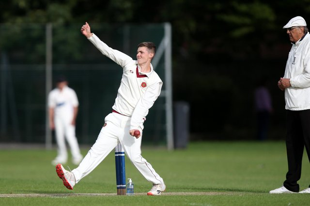 Charlie Whitfield, seen here in bowling action, impressed with the bat as Havant 2nds defeated Burridge 2nds in the Hampshire League. Picture: Chris Moorhouse