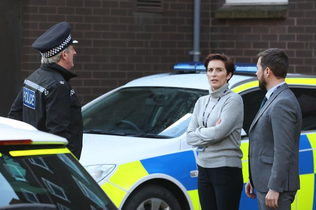 (left to right) Adrian Dunbar, Vicky McClure and Martin Compston on the set of the sixth series of Line of Duty. Picture: Liam McBurney/PA Wire