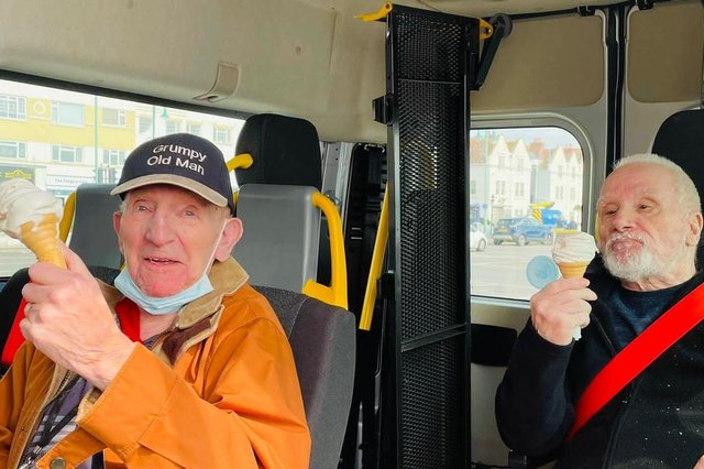 Residents from The Fernes care home in Catisfield were excited to get out for a day trip to the beach at Lee-on-the-Solent