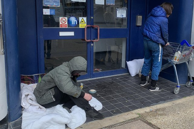 A street homeless man outside LSI Portsmouth just next to the council-purchased block in St Michael's Road on March 22, 2021.