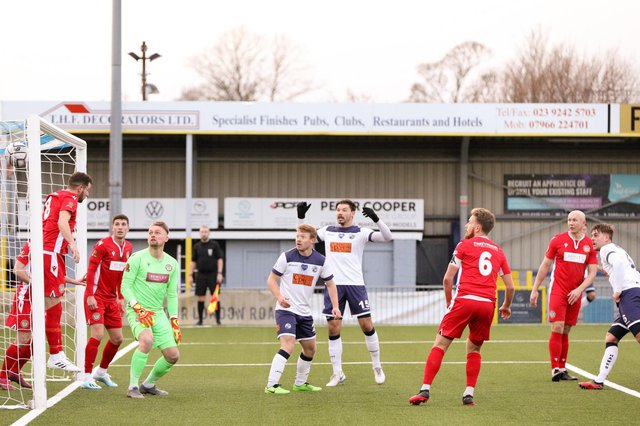 Sam Magri, far right, heads Havant and Waterlooville into a 2-0 lead against Hungerford Town. Picture: Chris Moorhouse