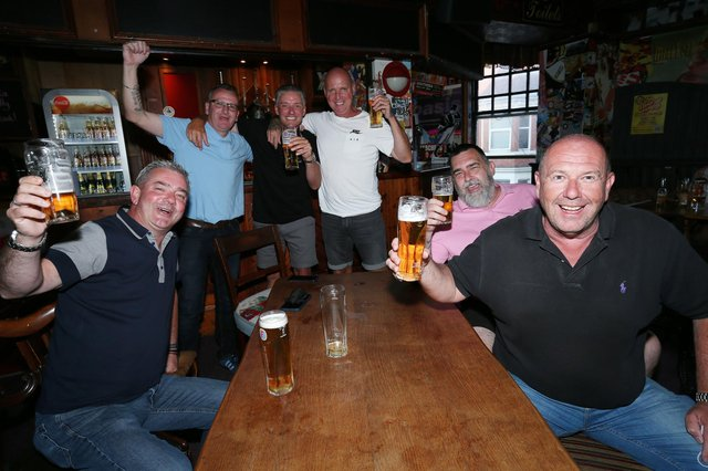 From left, Adam Brown, Garyn Starks, Lee Simmons, Bobby Madwick, Barry Byng and Gordon Perry. Fans watch England v Ukraine in the quarter finals of Euro 2020, in The Kings pub, Albert Rd, SouthseaPicture: Chris Moorhouse (jpns 030721-13)