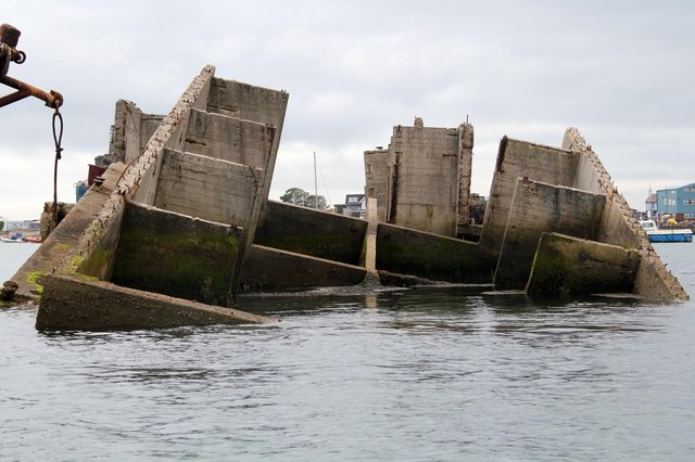 The Mulberry Harbour caisson in Langstone Harbour. Picture: Bob Hind