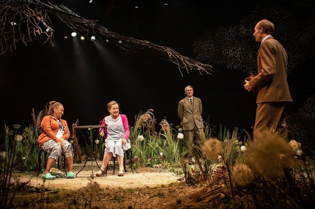 Doña Croll (Marjorie), Hayley Carmichael (Kathleen), Daniel Cerqueira (Harry) and John Mackay (Jack) in Chichester Festival Theatre's Home, October 2021. Photo by Helen Maybanks