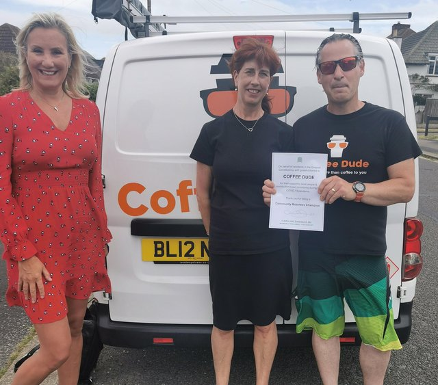 Caroline Dinenage, Gosport MP, with Pete and Sheena Bowman from Coffee Dude