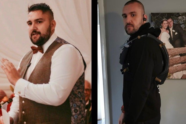 Left: Kyle in 2019. Right: Kyle now