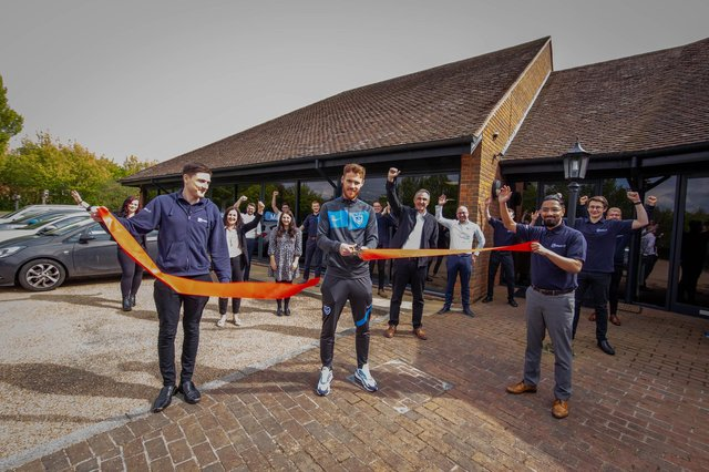 Matrix IT have recently moved to much bigger office and have Pompey player, Tom Naylor to mark the openingPictured: Footballer Tom Naylor with the staff in front of the new office in Portchester on 29 April 2021Picture: Habibur Rahman