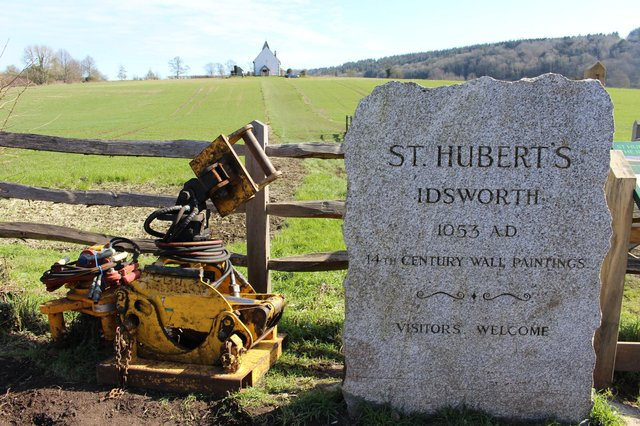 Equipment in the lay-by near St Hubert's Church. Picture: Emily Turner