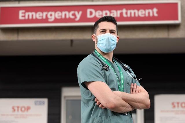 Junior doctor Dr Raphael Lippa outside A&E at Queen Alexandra Hospital, CoshamPicture: Chris Moorhouse   (171020-)